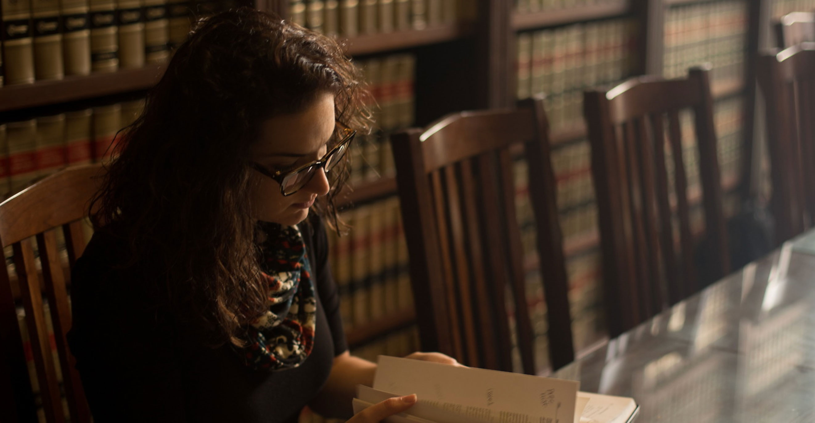 Student studying in the law library